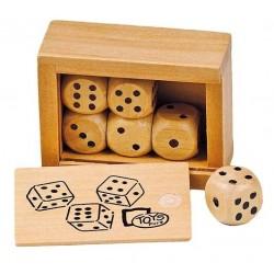 Boîte de 6 dés en bois, Goki
