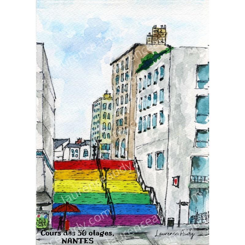 Escalier Pride, Cours des 50 otages, Nantes (44)