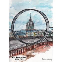 Reproduction, Aquarelle Quai des Antilles Nantes, Laurence Audy